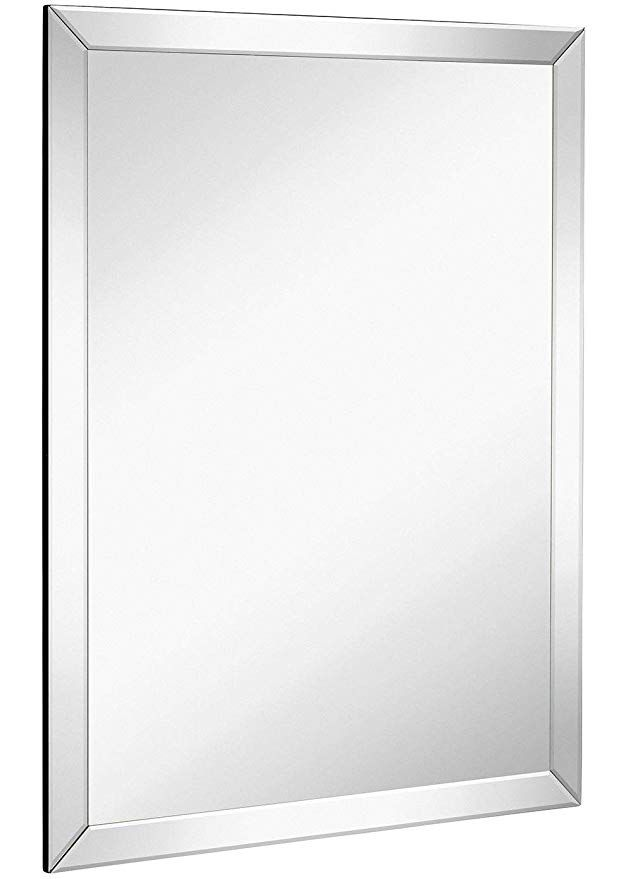 Amazon Com Large Flat Framed Wall Mirror With 2 Inch Edge Beveled Mirror Frame Premium Silver Backed Glass Framed Mirror Wall Frames On Wall Beveled Mirror