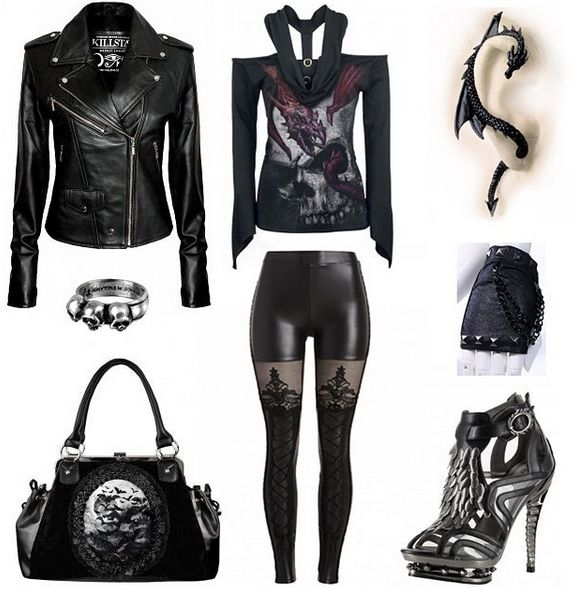 Outfit inspiration. Get it all from our webstore... ATTITUDECLOTHING.CO.UK | We…     ~ I like elements of this outfit. The shorts need a mini skirt over them, The ring should be a small black rose. I would choose a smaller purse with grommet detail and black strappy stilettos with silver studs.