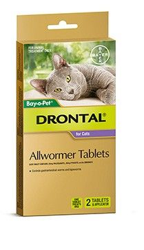 Bayer Drontal Cat Tablet 2 Tab + App -Drontal is Australias number 1 vet recommended allwormer for dogs and cats. Drontal Allwormer controls all gastrointestinal worms in cats including roundworm, hookworm and tapeworm.