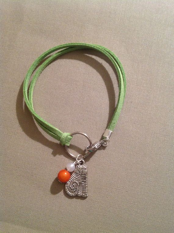 Funky cat on green  faux suede cord Bracelet by ACharmingSpirit, $10.00