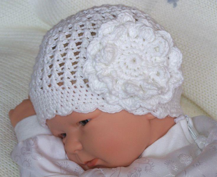 Babymützchen / Taufmützchen weiß  in vielen Größen von B-store auf DaWanda.com