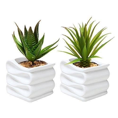 Small-Ceramic-Plant-Pot-Flower-Planter-White-Set-of-2-Modern-Decorative-New