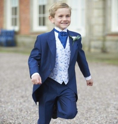 Our boys royal blue tailcoat, Lydbury. #peterposh #wedding #groom #weddingsuits #bluesuit #bowtie #groomsmen