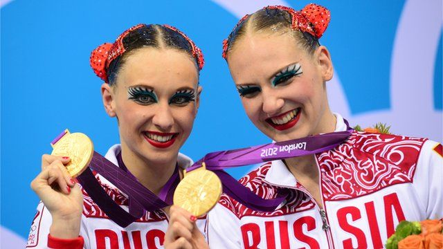Russia's Natalia Ishchenko and Svetlana Romashina won duet Olympic gold with a stunning display in the synchronised swimming final.