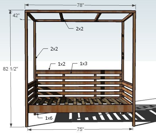 Ana White | Build a Outdoor Daybed with Canopy | Free and Easy DIY Project and Furniture Plans Thinking about making it for my room!! #furnitureplans