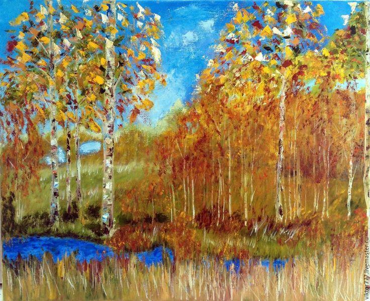 Купить Осенний хоровод. - рыжий, желтый, палевый, березы, вода, небо, холст