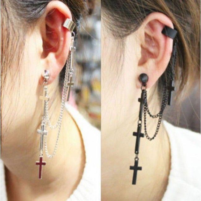 Vintage Cross Tassel Single Earrings&Ear Clip for only $9.99 ,cheap Earrings Studs - Jewelry&Accessories online shopping,Vintage Cross Tassel Single Earrings&Ear Clip