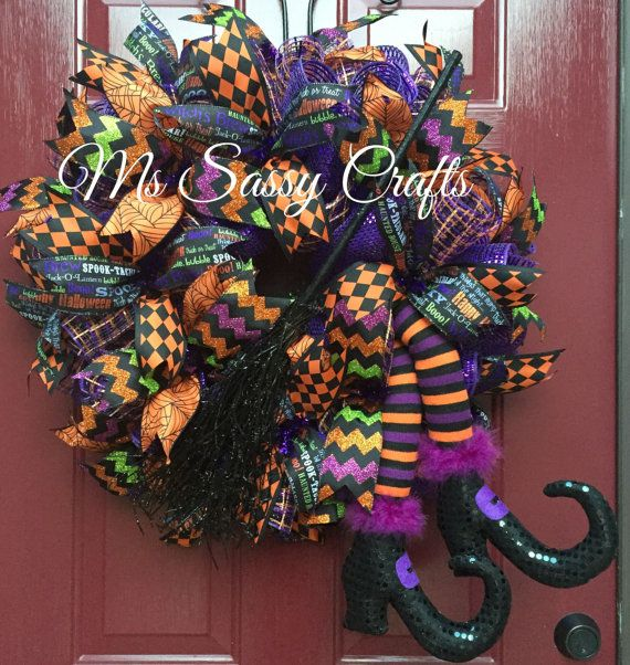 Halloween Wreath Raz Witch Legs Wreath Witch by MsSassyCrafts