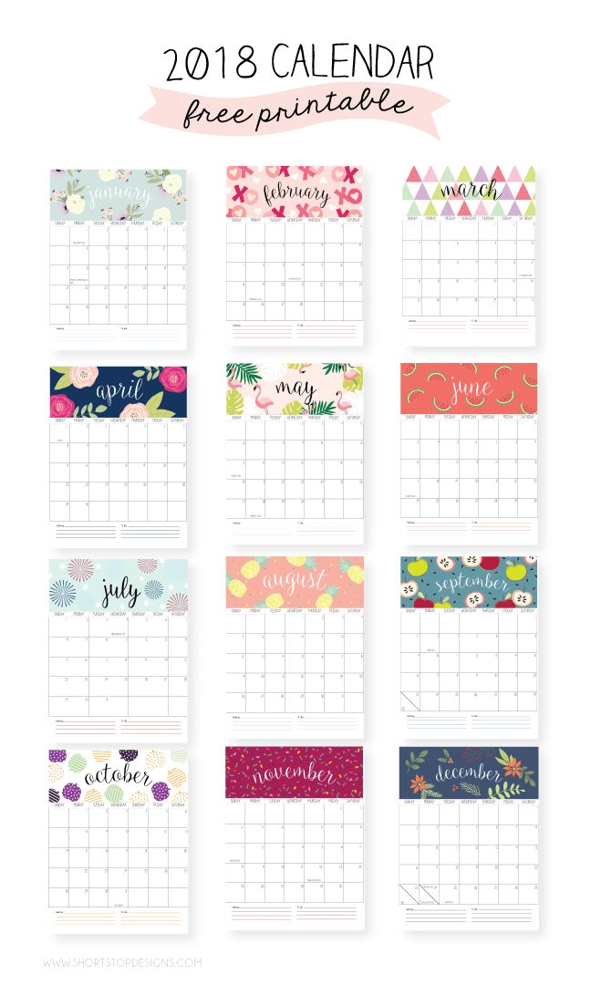 2018 Printable Calendar Iu2019m so excited to share with you the 2018 Printable…
