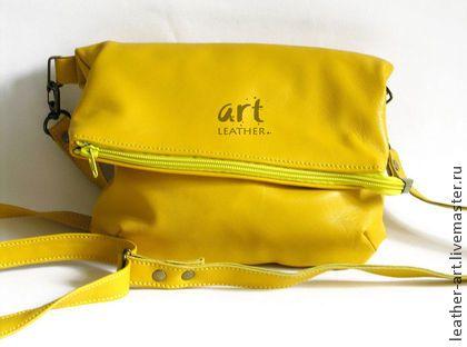 Кожаная сумка Планшетка Солнечная - однотонный,сумка,кожа,планшетка,сумка-паншетка