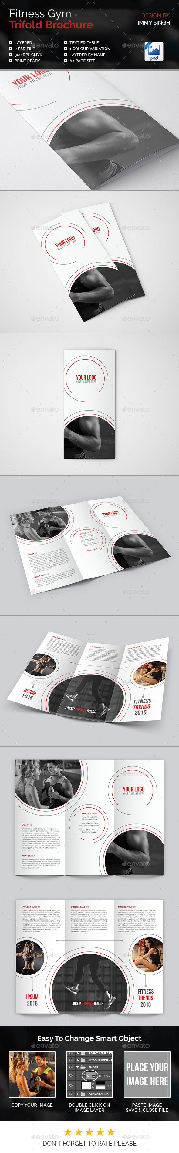 Fitness Gym Trifold Brochure Template PSD #design Download: http://graphicriver.net/item/fitness-gym-trifold-brochure/14320119?ref=ksioks