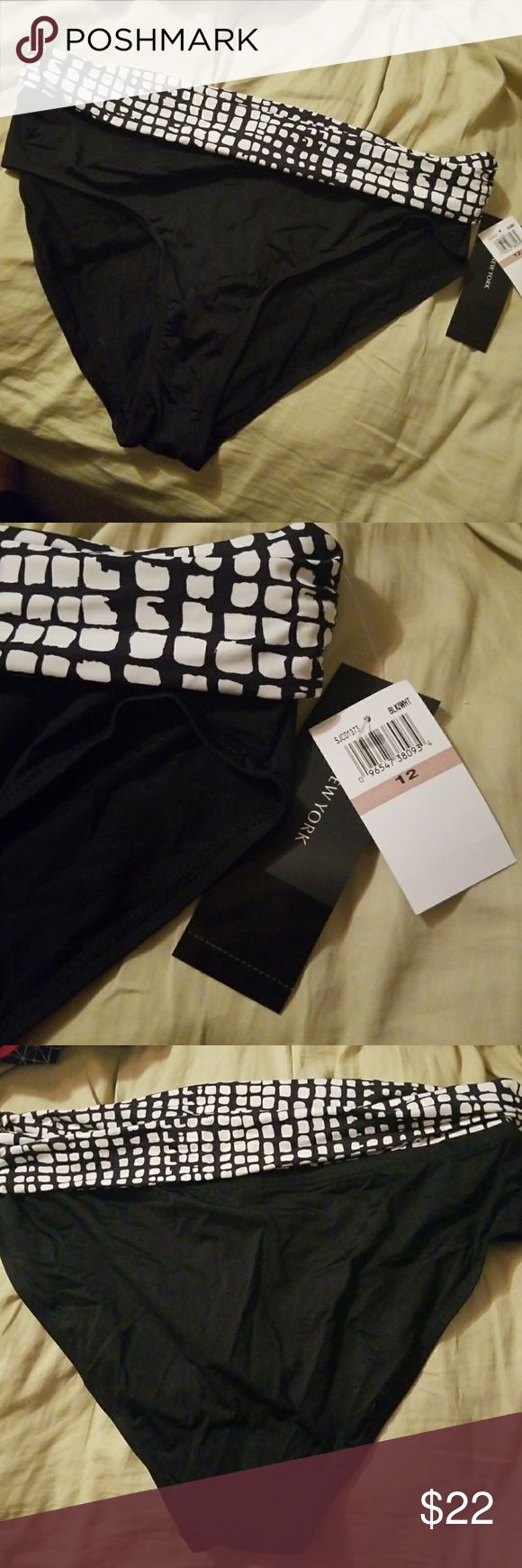 Jones new york NWT bikini bathing suit bottoms, 12 Size 12 bikini bathing suit bottoms, new with tags! Waistband is foldover style or can have as thick band. Colors are black and white. Jones New York Swim