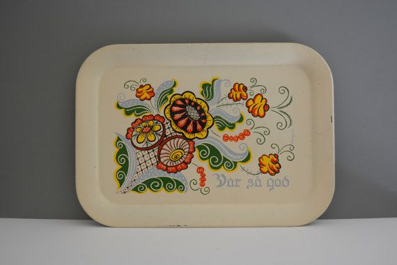 Berggren Metal Serving Tray - Var Sa God Scandinavian Rosemaling Home Decor Serve Coffee Tea Help Thyself