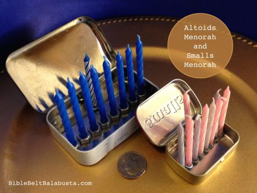 "Last year I made a ""curiously tiny"" menorah from an Altoids tin. I also made the claim that as menorahs go, you can't get much smaller. I was wrong."