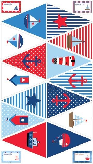By The Sea NC Fabric Nautical Bunting Flags DIY by AllegroFabrics, $10.00: