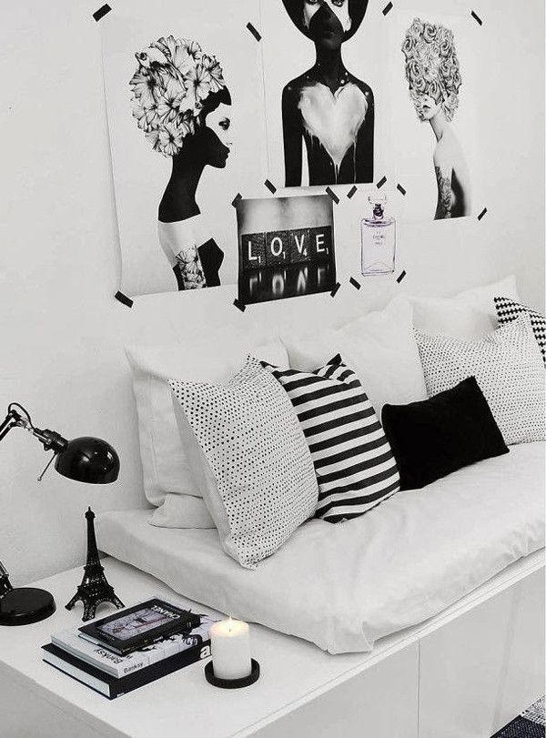 10 Ideas To Decorate Your Small Living Room In Your Rented Flat. Monochrome  InteriorMonochrome BedroomWhite Interior DesignBedroom BlackInterior ...
