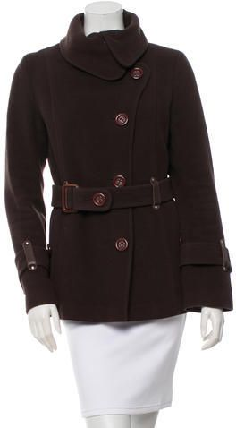 Mackage Leather-Trimmed Wool Coat