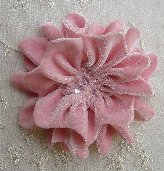 PINK Velvet Ribbon Rose Fabric Sequin Beaded Flower Applique Hat Corsage Pin Baby Pageant Bridal Hair Accessory Applique