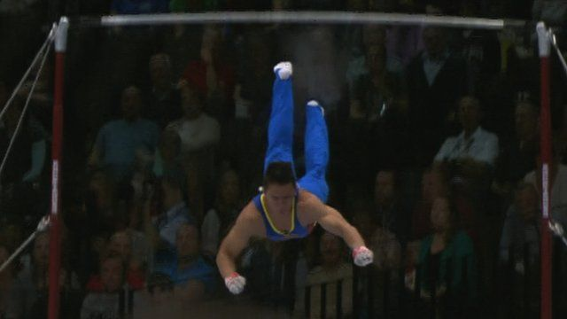 Colombia's Jossimar Orlando Calvo Moreno suffers two falls - including a belly-flop landing - during his final high bar routine at the World Artistic Gymnastics Championships.   If you are having a bad day this should bring a smile to face http://www.bbc.co.uk/sport/0/gymnastics/24391329