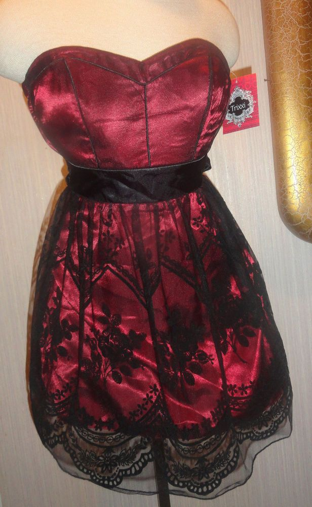 Ladies Trixxi Crimson Red & Black Lace Overlay Cocktail Dress Juniors Size 1 #Trixxi #Sundress #Cocktail
