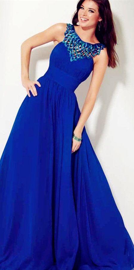 sexy blue prom dress