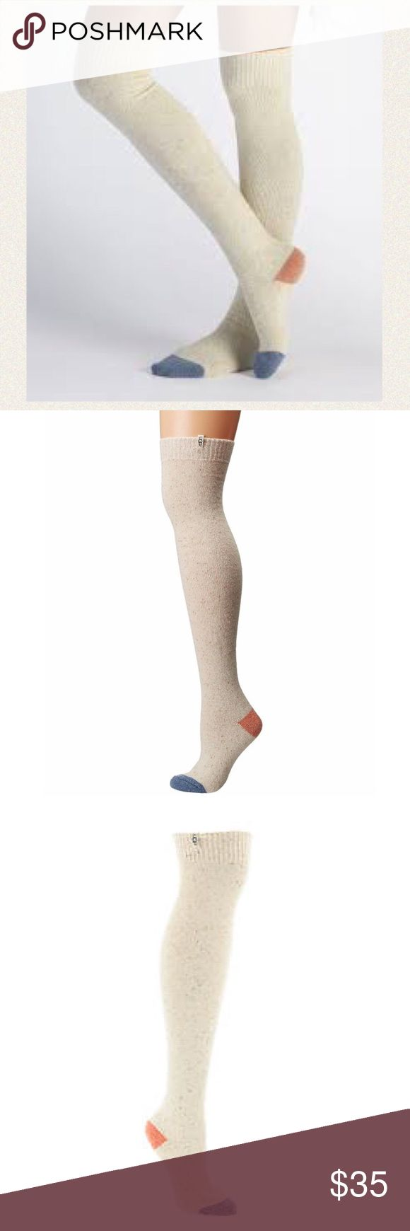 """NWT Ugg Colorblock Ribbed Over the Knee Sock These comfy over-the-knee socks are a must have for the winter season.  22"""" over-the-knee height.  Contrast color toe and heel.  Wool blend.  Fits shoe sizes 5-10.  Color: Freshwater Pearl. UGG Accessories Hosiery & Socks"""