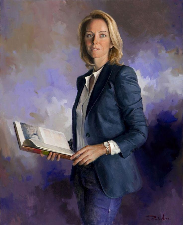 Ricardo Sanz – Retrato de Arantxa Quiroga. Presidenta del Parlamento Vasco Óleo sobre lienzo. 100×81 cms.