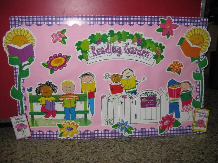 Reading garden bulletin board set classroom decoration for Garden design ideas cork