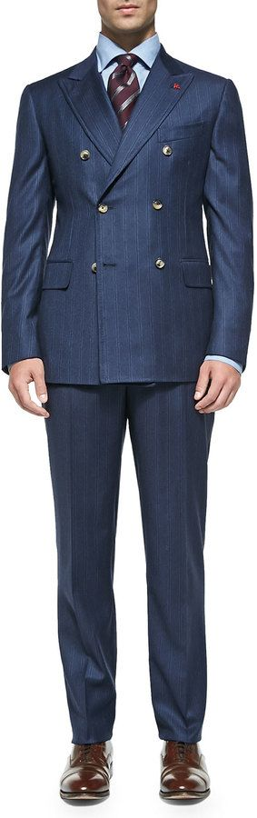 $3,650, Navy Vertical Striped Double Breasted Blazer: Isaia Double Breasted Stripe Suit Blue. Sold by Neiman Marcus. Click for more info: https://lookastic.com/men/shop_items/125179/redirect