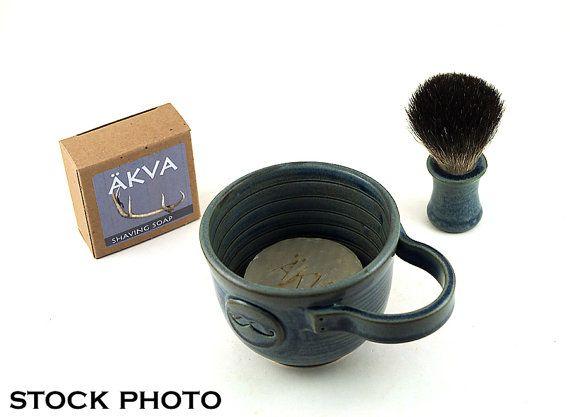 Mens Shaving Set Blue Mustache Shave Mug Black by MiriHardyPottery