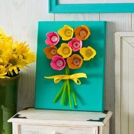 Plaid®+Apple+Barrel®+Egg+Carton+Flower+Canvas+