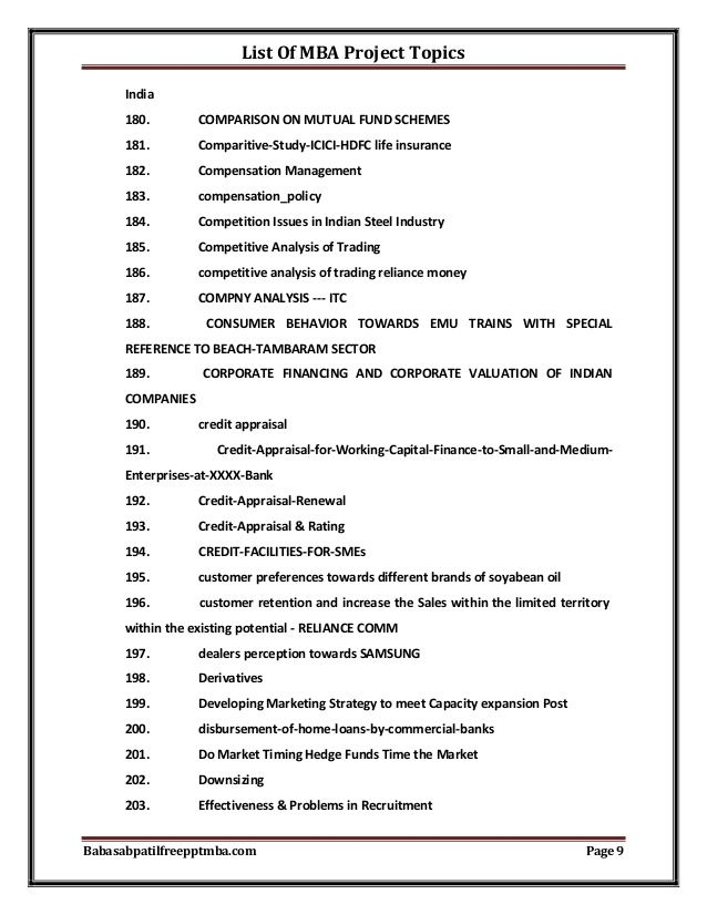 List Of Mba Project Topics Reports Others Pinterest Sample Resume