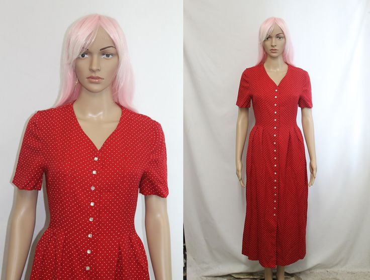 90s Dress / 90s Grunge Dress /Loose Red Dress / Polka Dot Dress Long / 1990s Clothing Size 10 M by Throwback90s on Etsy
