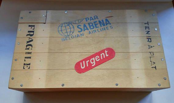 Vintage wooden storage box Sabena belgian Airlines