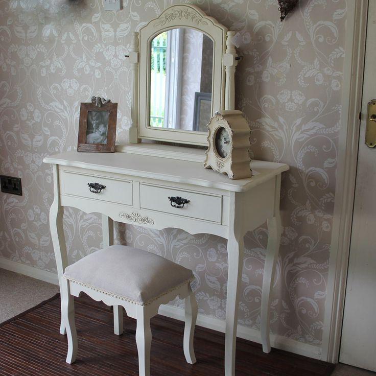 Belgravia Range - Cream Dressing Table with Mirror and Stool