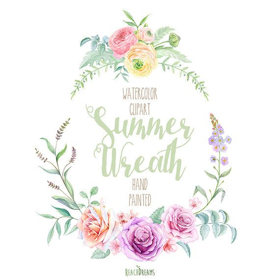 Watercolor Wreath Flowers Hand Painted. Wedding by ReachDreams