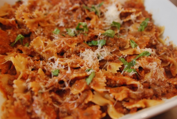 Weeknight Bolognese (via The Dough Will Rise Again). I actually received this recipe prior to this posting and made it for guests a few months ago. RAVE reviews by all - it's delicious!