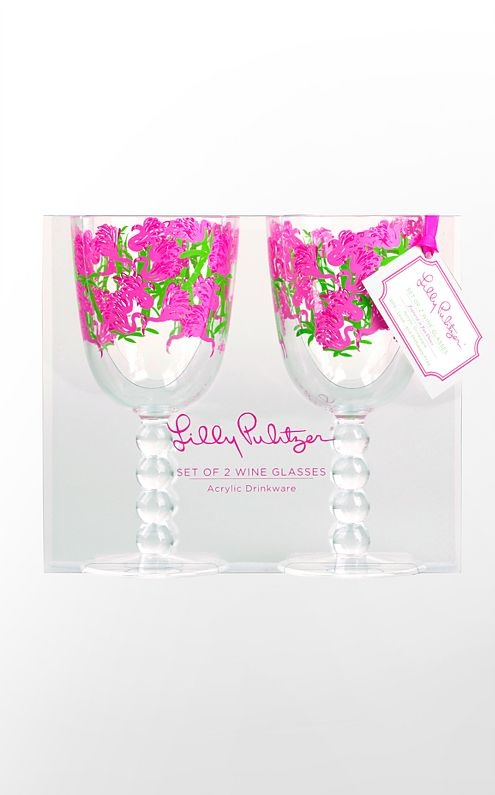 DZ lilly wine glasses!: Lilly Pulitzer, Fans Dance, Pulitzer Wine, Girls Getaway, Wine Glasses, Lilly Wine, Pulitzer Acrylics, Products, Acrylics Wine