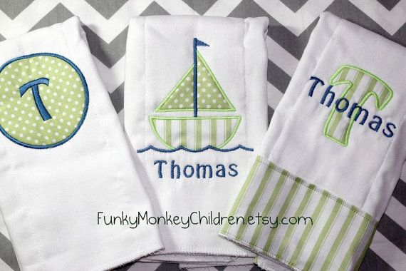 Monogrammed Baby Boy Burp Cloth Set  by FunkyMonkeyChildren, $29.00