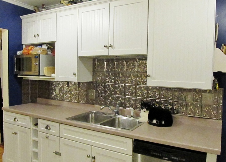 a new kitchen backsplash using the Fasade Thermoplastic panels (brushed  nickel finish) that imitate pressed tin. Couldn\'t afford a celebrity for  the