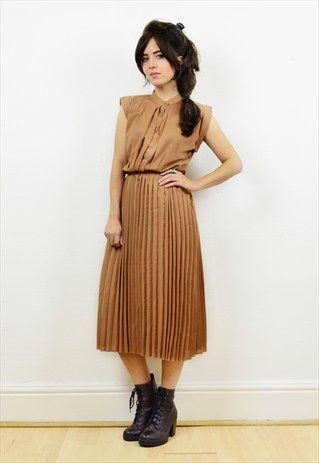 80s+tan+capped+sleeve+pleated+midi+dress