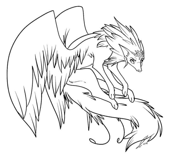 Coloring Pages Of Anime Wolves In 2020 Anime Wolf Animal Coloring Pages Demon Drawings