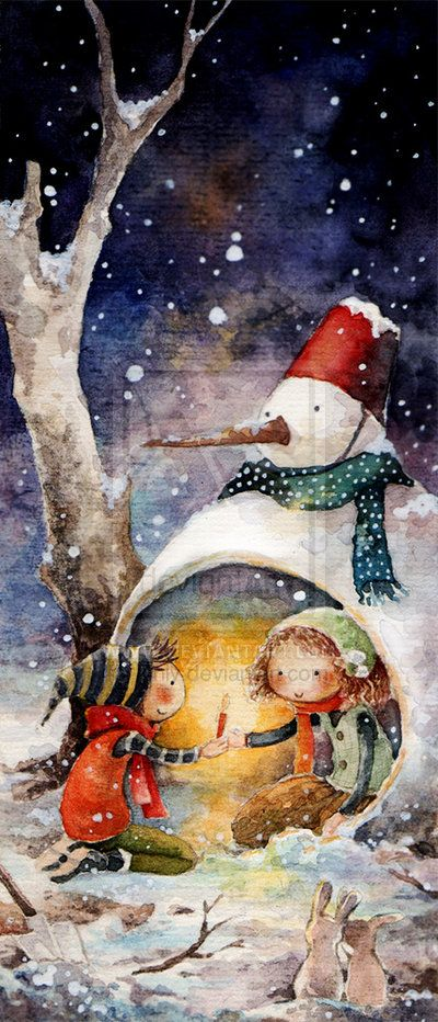 17sept14 - Snowman with children - Christmas - snow