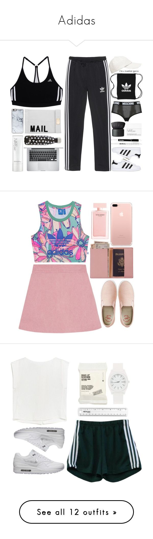 """Adidas"" by andreiasilva07 ❤ liked on Polyvore featuring adidas, adidas Originals, Witchery, Zero Gravity, Apple, Akira, Moschino, S'well, NARS Cosmetics and Royce Leather"