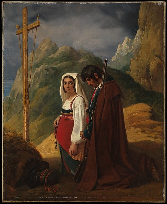 Leopold Robert, oil on canvas, Italian Couple at a Roadside Shrine painted 1794-1835. Beautiful. Look at the attention to detail on her face, the rosary in her hand. Awesome.