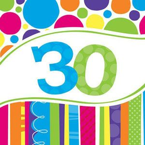 20663012 - Bright and Bold 30th Birthday Luncheon Napkins Bright and Bold 30th Birthday Luncheon Napkins, (33cm x 33cm) 2-Ply - Pack of 18 Please note: approx. 14 day delivery