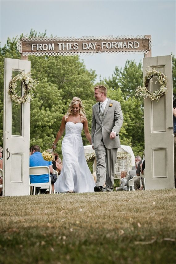from this day forward wedding ceremony backdrop with doors | http://emmalinebride.com/rustic/wedding-backdrops-with-doors/