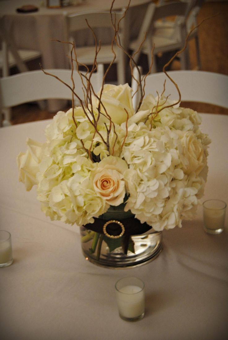 green curly willow | reception table piece of white hydrangeas, roses, and curly willow ...