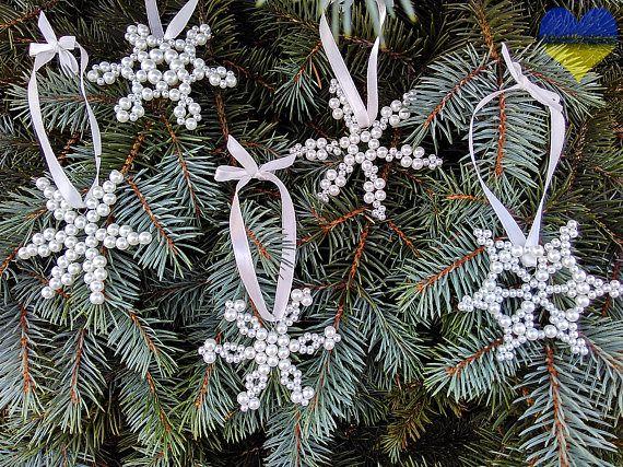 Beaded Snowflake Ornament Christmas Ornament Handmade Glass