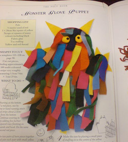 MONSTER GLOVE PUPPET would be so much fun to make - tape tissue paper to a plastic glove.-looks like a  wild thing